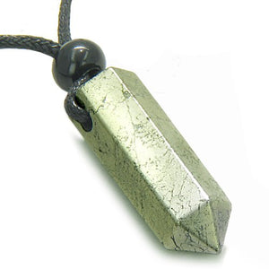 SHIP BY USPS: Amulet Golden Pyrite Iron Crystal Point Healing Powers Wand Pendant Necklace