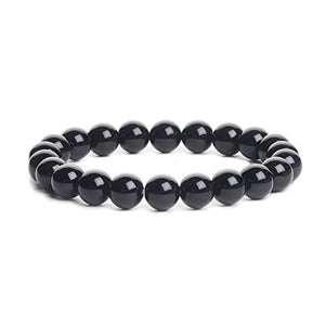 SHIP BY USPS: iSTONE Mens Womens Natural Gemstone 8MM Round Beads Healing Power Stretch Bracelet Set of 4 (Amethyst+Black Agate+White Howlite+Rhodonite)