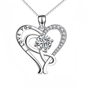 "Sterling Silver ""I Love You"" Infinity Heart Pendant Necklace 18"""