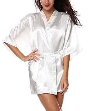 Women Kimono Robe Satin Lounge Nightwear Bridesmaids Sleepwear Inside Tie