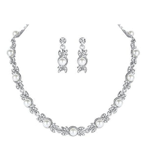 SHIP BY USPS: mecresh Pearl Wedding Bridal Jewelery sets for Women or Bridesmaids(1 Set Earrings,1 PCS Necklace)