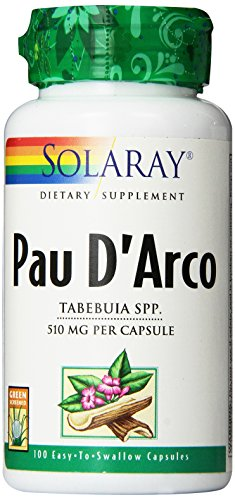 SHIP BY USPS: Solaray Pau D'arco Inner Bark Capsules, 510 mg, 100 Count