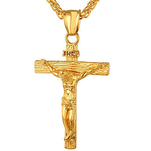 SHIP BY USPS: U7 Jewelry Men's Stainless Steel Jesus Christ Cross Crucifix Pendant Necklace