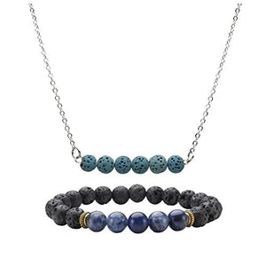 SHIP BY USPS: JOVIVI Lava Stone Aromatherapy Essential Oil Diffuser Necklace & Healing Gemstone Chakra Bracelet