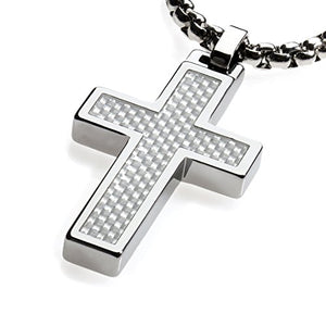 Unique Tungsten Cross Pendant .4mm wide Surgical Stainless Steel Box Chain. White Carbon Fiber Inlay.