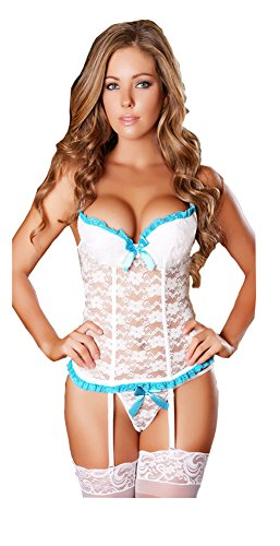 Women Plus Size Sexy Croset Lingerie Sleepwear with G-string