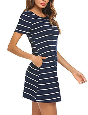 Mlxgoie Women's Casual Loose Striped Lovely Dress Short/Long Sleeve T Shirt Mini Dress with Pockets