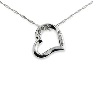 SHIP BY USPS: Silver Heart Necklace Crystal Pendant Fashion Designer Jewelry Best Gift for Mother's Day Anniversary