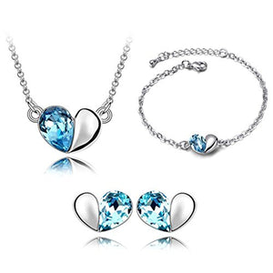 SHIP BY USPS: Btime Sweet Love Heart Necklace Earrings Bracelet Jewelry Set Crystals from Swarovski