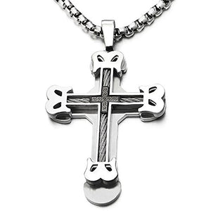 SHIP BY USPS: Mens Large Masculine Cross Pendant Necklace Steel with Steel Cable Inlay, 30 Inches Wheat Chain