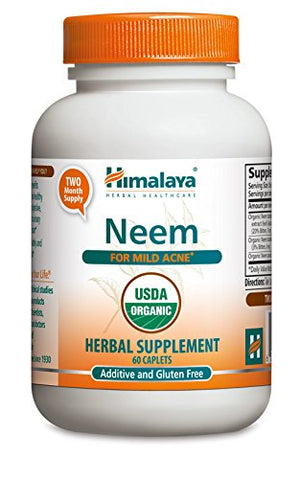 SHIP BY USPS: Himalaya Organic Neem 60 Caplets for Mild Acne & Healthy Skin 600mg, 2 Month Supply