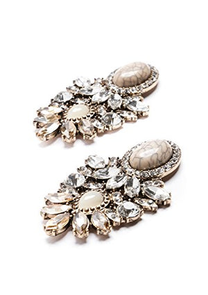 Statement Earrings with Rhinestones in Beige | Big Chandelier Earrings in Pastel Nude Colors nickel free