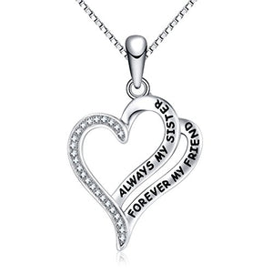 "FANCY Always My Sister Forever My Friend Love Heart Necklace, 18"", Jewelry for Women & Girls, Birthday Gifts for Sister, Best Friends."