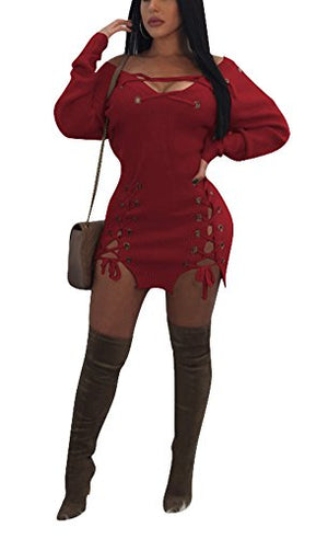 Felicity Young Women Sexy Long Sleeve V Neck Slim Fit Basic Knitted Sweater Bodycon Mini Dress