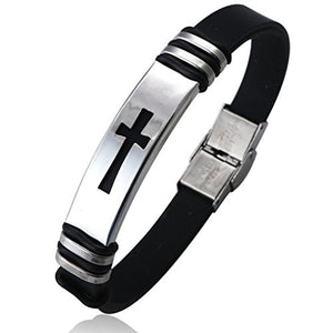 SHIP BY USPS Jstyle Jewelry 2 Pcs Men's Stainless Steel Religious Black Rubber Cross Bracelet