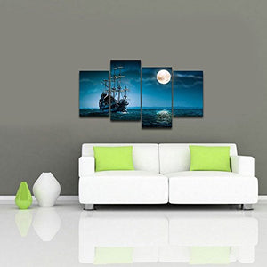 4-Panel Modern Seascape Stretched and Framed Giclee Canvas Wall Art