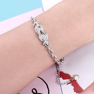 NINAMAID True-Love Knot Infinity Symbol Bracelet Gold Plated Copper Women Jewelry Cubic Zirconia