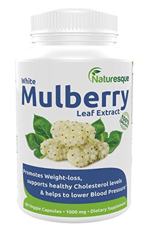 SHIP BY USPS:  #1 White Mulberry Leaf Extract | 1000mg | 1 Bottle -  Low Blood Sugar | Rich in Antioxidants & Fiber Helps in Weight...