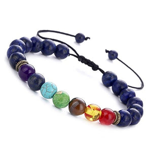 SHIP BY USPS: BESKIT Men Women 8mm Lava Rock 7 Chakras Beads Bracelet Braided Rope Natural Stone Yoga Bracelet Bangle