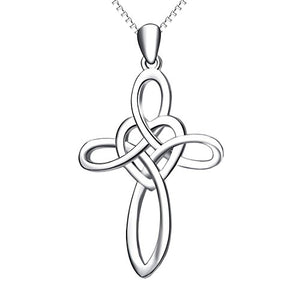 "SHIP BY USPS: YFN ""Infinity Love""Jewelry 925 Sterling Silver Platinum Polished Eternal Celtic Knot Cross Pendant Necklace"