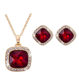 SHIP BY USPS: Omnichic Fashion Jewelry Simulated Ruby Gemstone Square Necklace & Stud Earrings Set