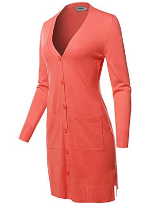Awesome Women's Casual Button Up Long-Line Sweater Viscose Knit Cardigan