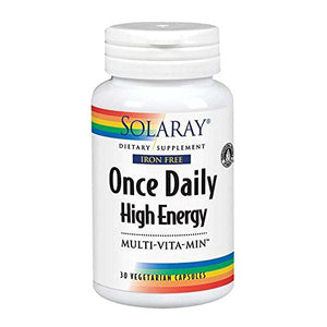 SHIP BY USPS: Solaray Once Daily High Energy Iron-Free Vitamin Capsules, 30 Count