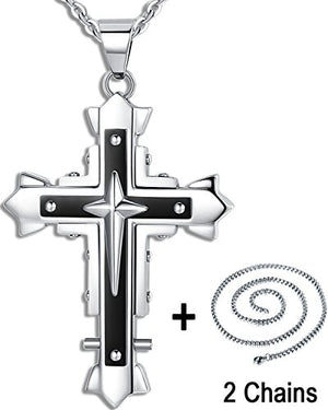 SHIP BY USPS: Ostan Men's Stainless Steel Cross Necklace Fashion Vintage Dark Knight Pendant Cool Heavy Metal Style and Three-Dimensional Effect.