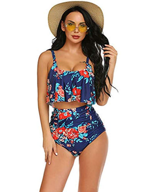Tummy Control Swimsuits for Women Ruffled High Waisted Bikini Set Floral Printed Plus Size Swimwear