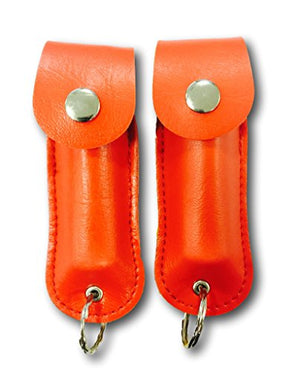 [2 Pack] Police Magnum Faux Leather Holster Pepper Spray with UV Dye and Twist Top