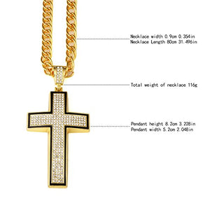 SHIP BY USPS Cross Necklace for Men 18k Real Gold Diamond Pendant Hip Hop Chain