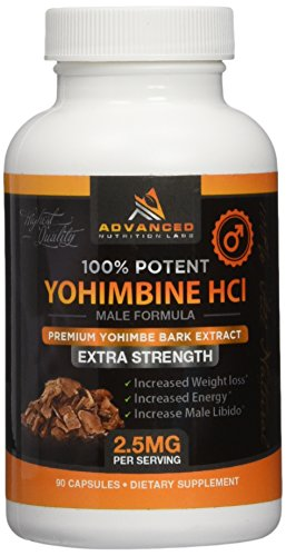 Yohimbine HCl 2.5 mg, 90 Capsules - Yohimbe Bark Extract for Men and Women - Fat Burner Supplement...