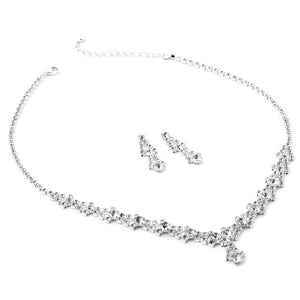SHIP BY USPS: Silver Crystal Rhinestone and Crystal Circle Stones Necklace and Matching Dangle Earrings Jewelry Set