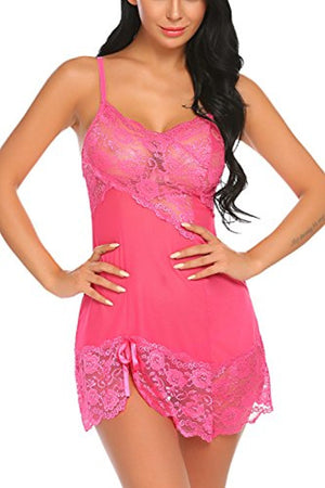 Women Lingerie Lace Babydoll Chemise Strappy Teddy Mini Nightwear