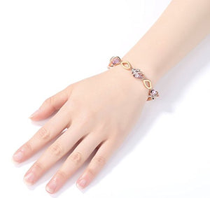 "Leafael [Presented Miss York Wish Stone Bracelet Made Swarovski Crystals, Silver Tone 18K Rose Gold Plated, 7""+2"""