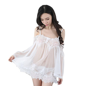 Women Lingerie Lace Babydoll Dress Transparent Sleepwear Chemises Outfit