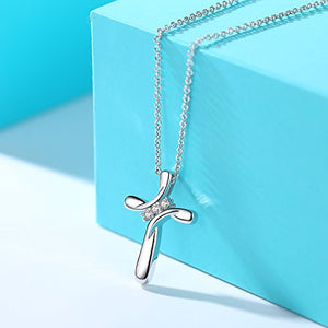 "Rhodium Plated Three Cubic Zirconia Stone Cross Pendant Necklace Christian Religious Jewelry, 20"" Chain"