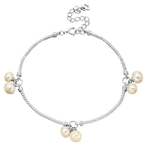 SHIP BY USPS: EleQueen 925 Sterling Silver CZ AAA Button Cream Freshwater Cultured Pearl Infinity Bridal Jewelry