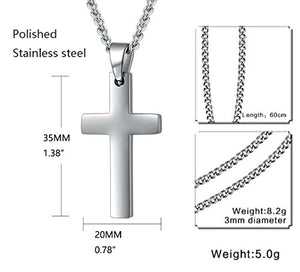 SHIP BY USPS: Mens Womens Simple Cross Pendant Stainless Steel Titanium Necklace