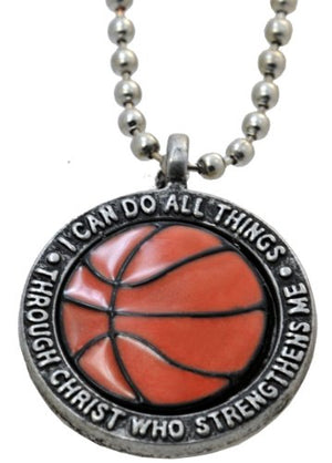 "SHIP BY USPS: Basketball Necklace ""I Can Do All Things Through Christ"""