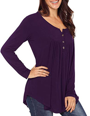 Womens Long Sleeve V Neck Tops Pleated Front Button Tunic Tops Henley Shirts