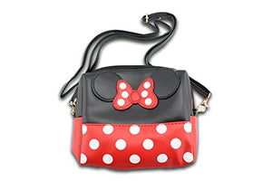 SHIP BY USPS: Finex Minnie Mouse Bow Ears Polka dots Cosmetic bag Handbag w/ Detachable Strap - Multifunction Zippered Travel Makeup Purse (Rectangular, Red/Black)