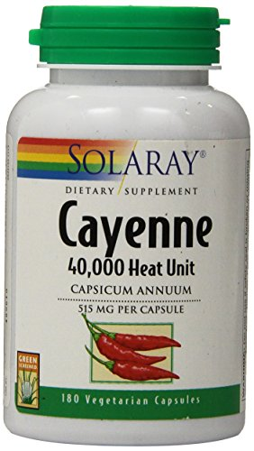 SHIP BY USPS: Solaray Cayenne Capsules, 515 mg, 180 Count