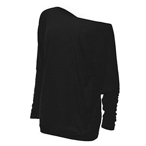 Women's Off Shoulder Batwing Sleeve Loose Pullover Sweater Knit Jumper
