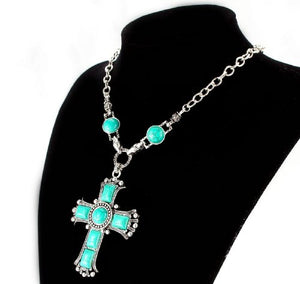 SHIP BY USPS Fti&Wit Turquoise Cross Pendant Vintage Bohemia Silver Tone Necklace Jewelry