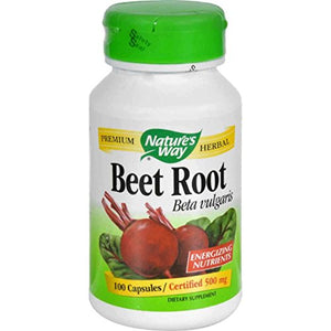 [2 Bottles] Nature's Way Beet Root Powder Capsules 500 mg, 100-Count Each