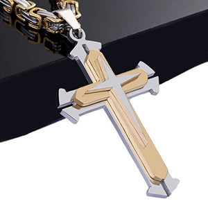 SHIP BY USPS Trendsmax Jewelry Stainless Steel Cross Pendant Necklace Mens Boys Chain 5mm Byzantine Chain 22-30inch