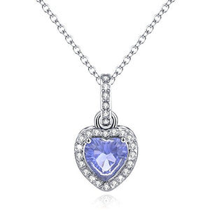 SHIP BY USPS: Love Heart Necklace Pendant Simulated Birthstone Jewelry Necklace for Women Gift Rhinestone Necklace Month