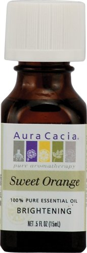 Aura Cacia Essential Oil, Orange Sweet/Citrus Sinensis, 0.5 Ounce