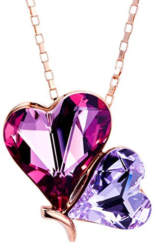 "[Presented by Miss New York] Leafael Double Heart Butterfly Pink & Purple Pendant Necklace Made with Swarovski Crystals, 18K Rose Gold Plated Chain, 18"" + 3"", Nickel/Lead/Allergy Free, Luxury Gift Box"